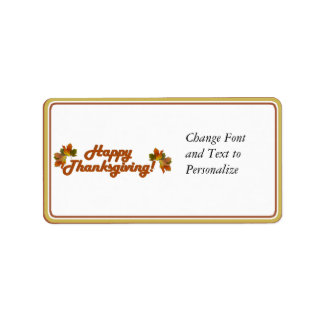 Happy Thanksgiving Text (harlow) Address Label