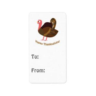 Happy Thanksgiving! Turkey Address Label