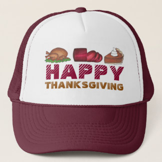 Happy Thanksgiving Turkey Cranberry Pie Dinner Hat