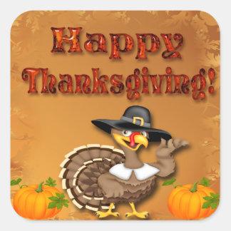 Happy Thanksgiving Turkey Envelope Seals Square Sticker