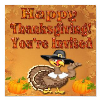 "Happy Thanksgiving Turkey Invitations 5.25"" Square Invitation Card"