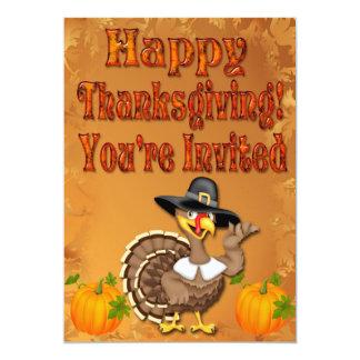 "Happy Thanksgiving Turkey Invitations 5"" X 7"" Invitation Card"
