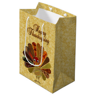 Happy Thanksgiving Turkey - Medium Gift Bag