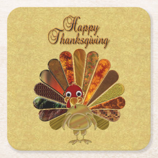 Happy Thanksgiving Turkey - Paper Coaster