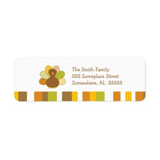 Happy Thanksgiving Turkey Return Address Label