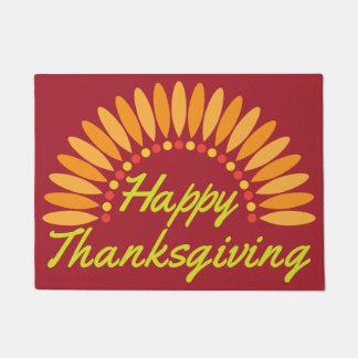 Happy Thanksgiving Turkey Tail Door Mat