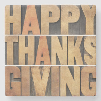Happy Thanksgiving - Vintage Stone Coaster