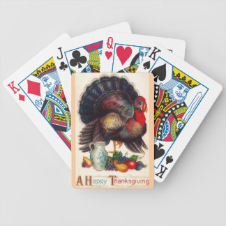 Happy Thanksgiving Vintage Turkey Bicycle Poker Cards