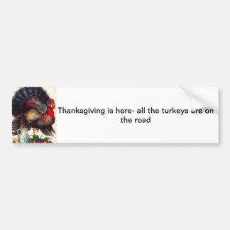 Happy Thanksgiving Vintage Turkey Bumper Sticker
