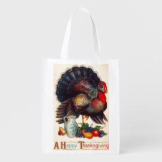 Happy Thanksgiving Vintage Turkey Grocery Bag