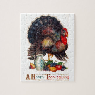 Happy Thanksgiving Vintage Turkey Jigsaw Puzzle