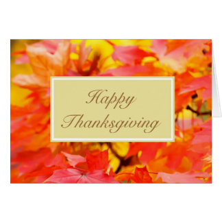 Happy Thanksgiving with fall leaves custom text Card