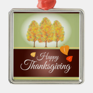 Happy Thanksgiving with Fall Trees Christmas Ornament