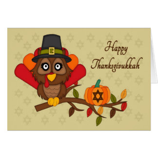 Happy Thanksgivukkah - Owl Turkey Greeting Card