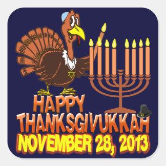 Happy Thanksgivukkah Thankgiving Hanukkah 2013 Square Sticker