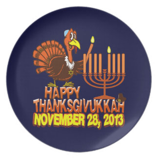 Happy Thanksgivukkah Turkey & Menorah Plates