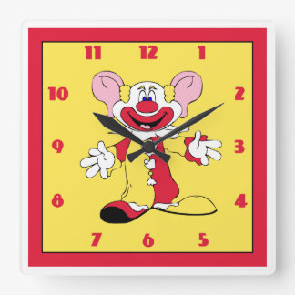 Happy The Clown in Red and Yellow Wall Clock
