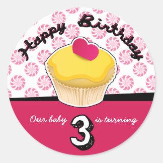 Happy Third (3rd) Birthday Cupcake Stickers! Round Sticker