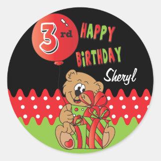 Happy Third Bear Birthday Round Sticker