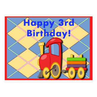 Happy Third Birthday Train Postcard