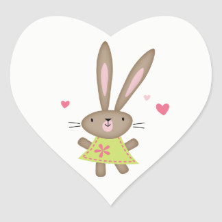 Happy Thoughts Bunny Heart Heart Sticker
