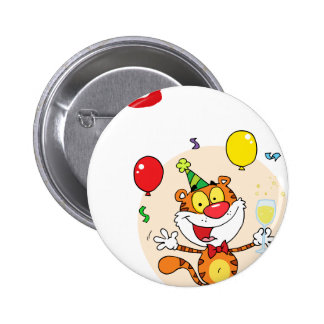 Happy Tiger In Party Buttons