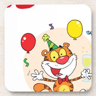 Happy Tiger In Party Drink Coasters