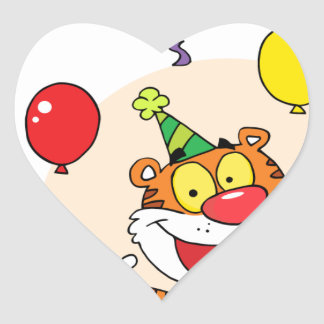 Happy Tiger In Party Heart Sticker