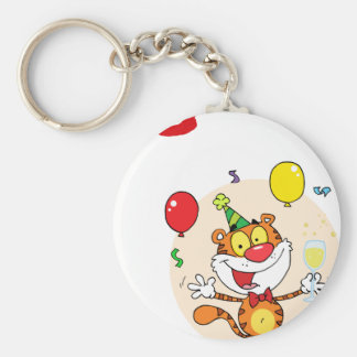 Happy Tiger In Party Keychain