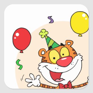 Happy Tiger In Party Square Sticker