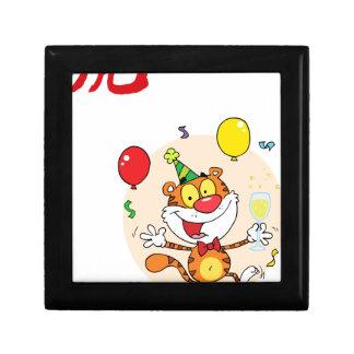 Happy Tiger In Party Trinket Box