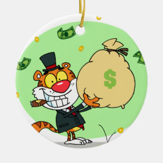 Happy Tiger Rolling in the Money Christmas Ornament