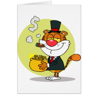 Happy Tiger With Pot Of Gold Greeting Card