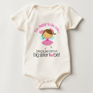 Happy to be me Big Sister pink fairy Baby Bodysuit