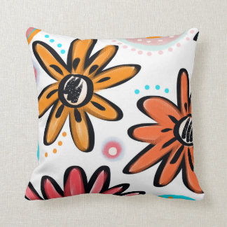 Happy To Be. Vibrant flower print Cushion