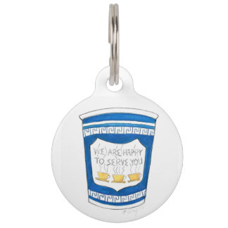 Happy to Serve You Greek Coffee Cup Pet Dog Tag