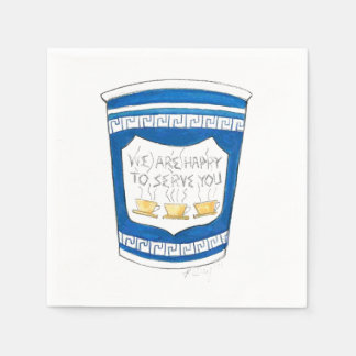 Happy To Serve You Greek Diner Coffee Cup Napkins Disposable Napkin