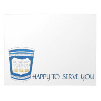Happy to Serve You Greek Diner Coffee Cup Notepad