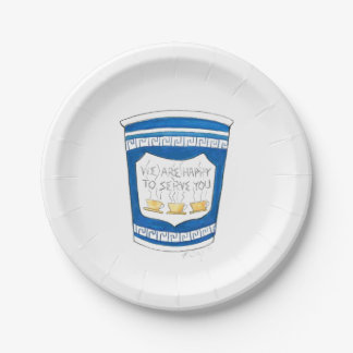 Happy To Serve You Greek Diner Coffee Cup Plates