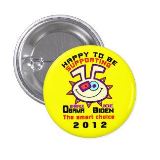 HAPPY TO SUPPORT OBAMA./BIDDEN 1012 3 CM ROUND BADGE