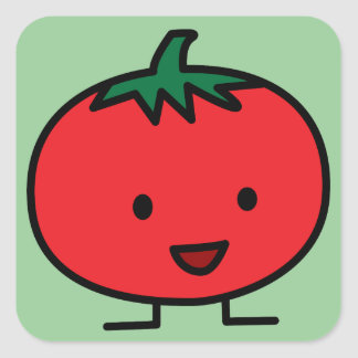 Happy Tomato Red Vegetable Fruit Square Sticker