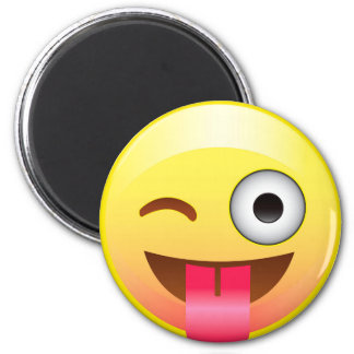 Happy Tongue Out Wink Emoji Funny Face Magnet