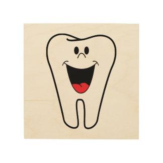 Happy tooth cartoon wood print