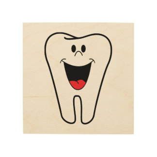 Happy tooth cartoon wood wall decor
