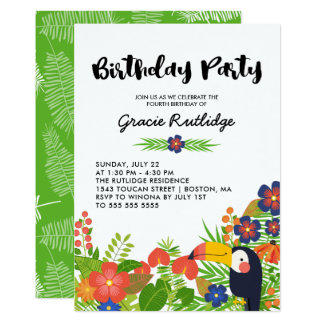 Happy Toucan Tropical Kids Birthday Party Card