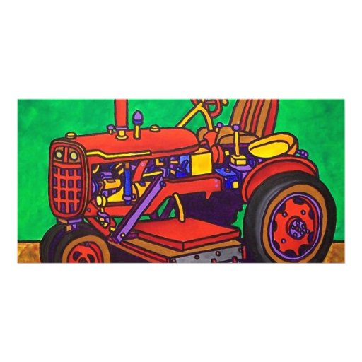 Happy Tractor by Piliero Personalized Photo Card