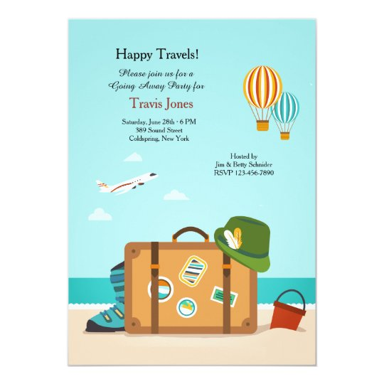 happy travels going away party invitation zazzle. Black Bedroom Furniture Sets. Home Design Ideas