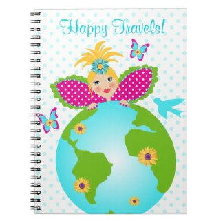 Happy Travels Mother Earth Fairy Angel Diary Dots Notebooks