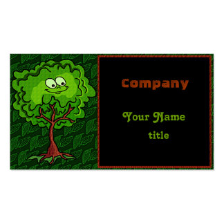 Happy Tree Leaf Green Bark Business Cards