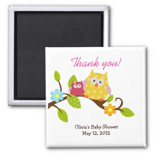 Happy Tree Owls Baby Shower Favor Magnet